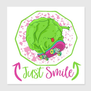 Just Smile - Happy Veggie Skater Cabbage - Poster 20x20 cm