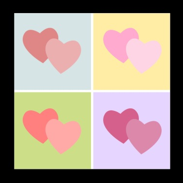 Hearts pop art - Poster 20x20 cm
