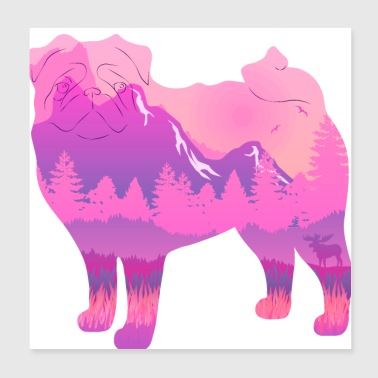 Pug in the mountains - Poster 20x20 cm