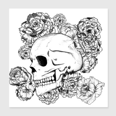Skull with flowers, drawing in black ink - Poster 20x20 cm