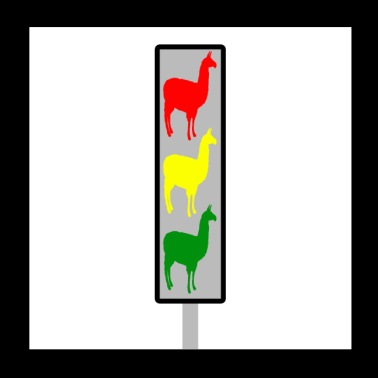 Alpaca traffic light - Poster 20x20 cm