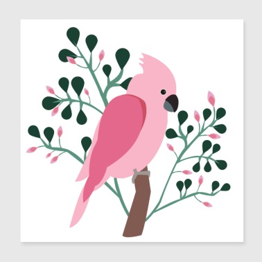 Bird cockatoo tropic flowers - Poster 20x20 cm