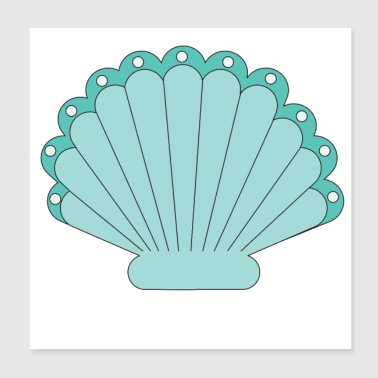 Seashell with pearl - Poster 20x20 cm