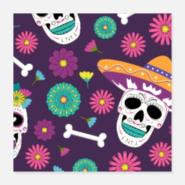 Mexico Day of the Dead Sugar Skulls halloween skull - Poster