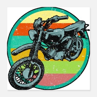Moped Retro Moped Relief Patch 3D used look - Poster