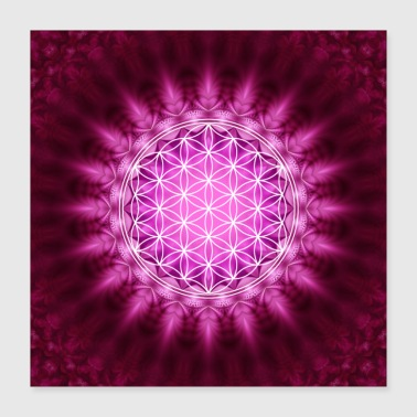 Meditation Flower of Life Yoga Meditation Lotus Mandala - Poster 40x40 cm