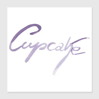 Cupcake lettering in purple - Poster 40x40 cm