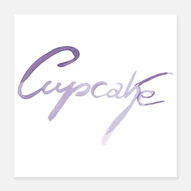 Cupcake Cupcake lettering in purple - Poster 40x40 cm
