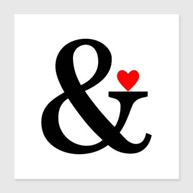 Ampersand Heart - Et Sign & Love - Poster 40 x 40 cm