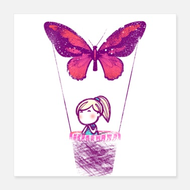 Hot Girl Hot air balloon butterfly girl painted - Poster