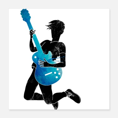 Guitare Musicien Blue Black Guitar - Poster