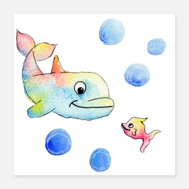 Analogue Colorful dolphin and fish - Happy Animals - Poster