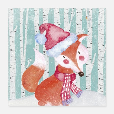 Clever Forest friends in the winter forest - The clever fox - Poster