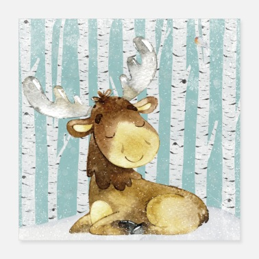 Baby Forest friends in the winter forest - The little moose - Poster