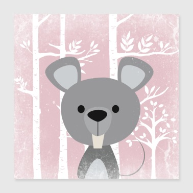 Forest friends in the pink fairytale forest - The cute mouse - Poster 40x40 cm