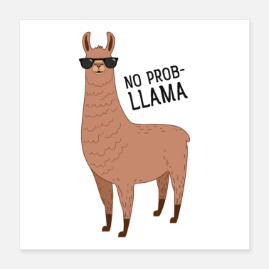 Cool No Prob-llama - Cool Llama With Sunglasses - Poster 40x40 cm