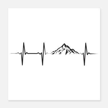 Klimmen Heartbeat Pulse Frequency Mountains ECG - Poster 40x40 cm
