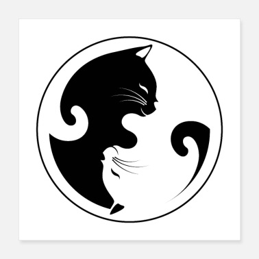 Mothers Ying Yang cat - Poster