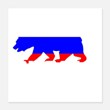 Russian Russia bear coat of arms flag - Poster 40x40 cm