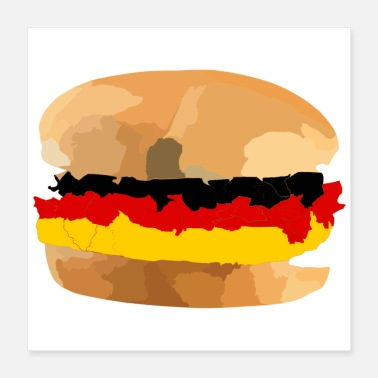 Meat Hamburger german Germany grill meat - Poster 40x40 cm