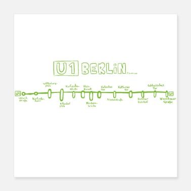 East Berlin Berlin U-Bahn - U1 - HD - Germany - Poster 40x40 cm