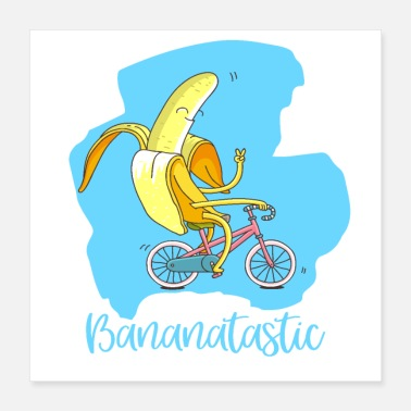 Fantastic Fantastic banana on bike - good mood vegan - Poster 40x40 cm