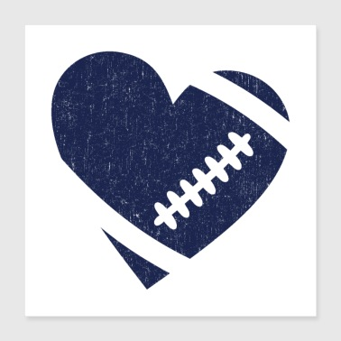 AMERICAN FOOTBALL HERZ - Poster 40x40 cm
