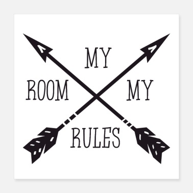 Large MY ROOM MY RULES - Poster 40x40 cm