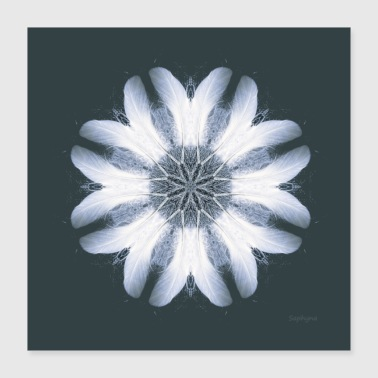Spirit Mandala White Feather Spirit - Poster 40x40 cm