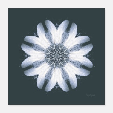 Healing Mandala White Feather Spirit - Poster 40x40 cm