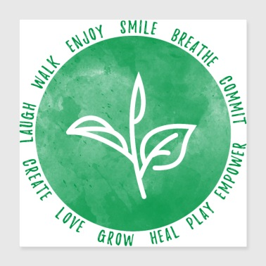 Smile Breathe Love (groen) - Poster 40x40 cm