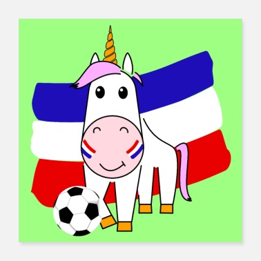 Name Day Unicorn Violetta plays football for France - Poster 40x40 cm