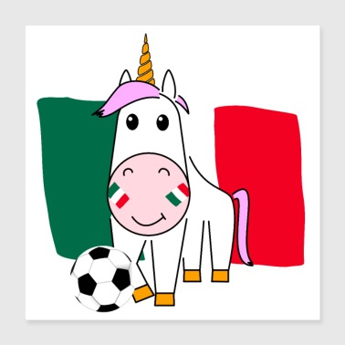 Play Boy Unicorn Violetta plays football for Mexico Poster - Poster 40x40 cm