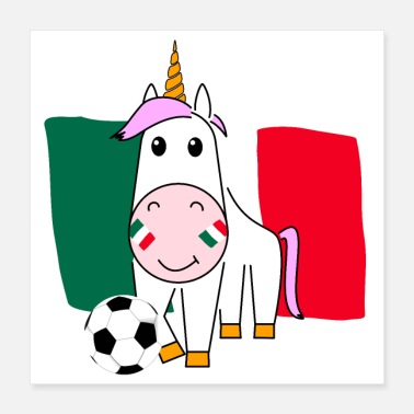 Name Day Unicorn Violetta plays football for Mexico Poster - Poster 40x40 cm