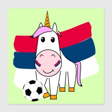 Play Boy Unicorn Violetta plays football for Serbia poster - Poster 40x40 cm