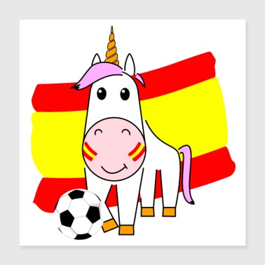 Unicorn Violetta plays football for Spain Poster - Poster 40x40 cm