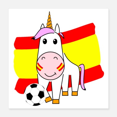 Spanish Unicorn Violetta plays football for Spain Poster - Poster 40x40 cm
