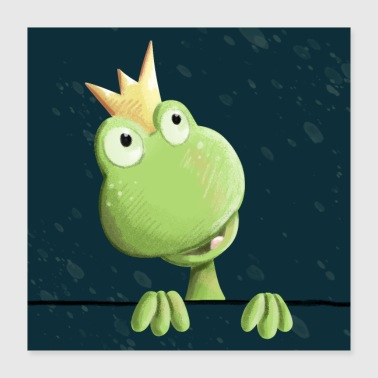 Frog Prince Fairy Tale Kids Poster - Poster 40x40 cm