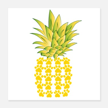 Patte T-shirt de conception d'ananas de pattes de chats - Poster 40 x 40 cm