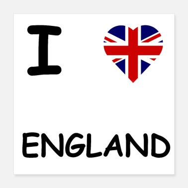 I Heart I LOVE ENGLAND / GROOT-BRITTANNIË CADEAU-IDEE - Poster 40x40 cm