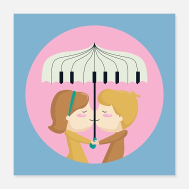 Lovely Loving couple / piano / umbrella - Poster