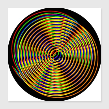 Different Spirals colorful of different colors - Poster 40x40 cm