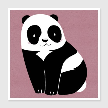 Paper Little panda on pink paper - Poster 40x40 cm