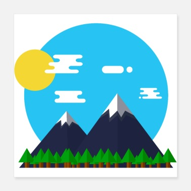 Outdoor Flat Design Outdoor Mountain Forrest Park -lahja - Juliste 40 x 40 cm