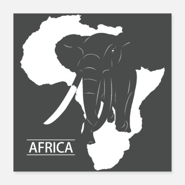 Silhouette Africa Elephant Silhouette - Poster