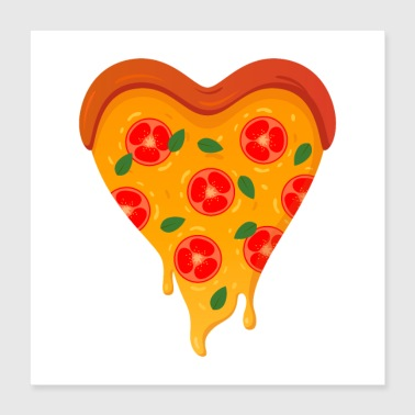 Pizza Love Coeur - Poster 40 x 40 cm
