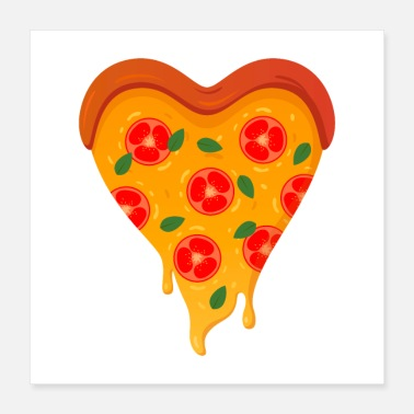 I Heart Pizza Love Heart - Poster 40x40 cm