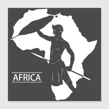 Africa Warrior Poster - Poster 40x40 cm