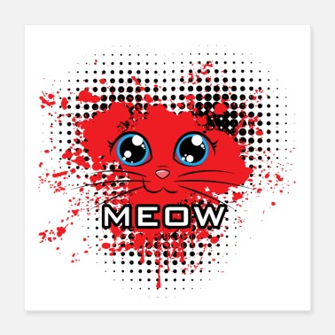 Red Meow cat heart red - Póster 40x40 cm