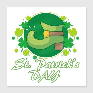 St. Patrick's Day boots lucky leaves gift - Poster 40x40 cm